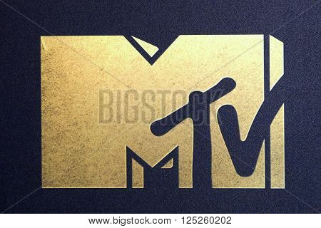 LOS ANGELES - APR 9:  MTV Emblem at the 2016 MTV Movie Awards Arrivals at the Warner Brothers Studio on April 9, 2016 in Burbank, CA