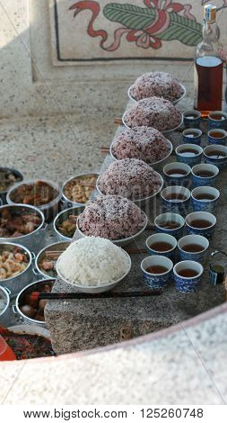 Food for make offering for ancestor's spirits in Buddhism belief