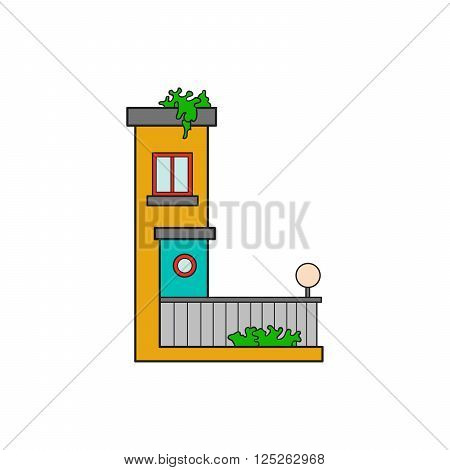 Illustration house letter alphabet. Larning the alphabet and literally in kindergarten. Letter isolated. The letter L