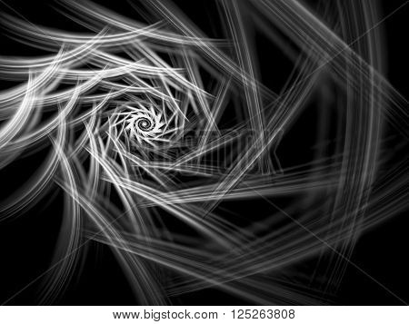 Abstract computer-generated image monochrome spiral on a dark background. Fractal background or graphic desigh element for t-shirt prints, posters, covers.