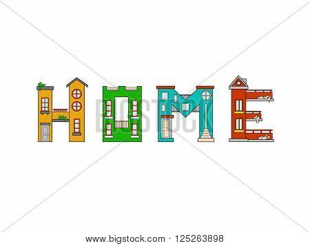 Illustration house letter alphabet. Larning the alphabet and literally in kindergarten. Letter isolated.