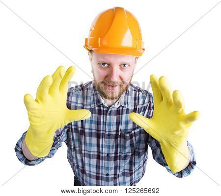 Bearded man in a helmet and yellow gloves