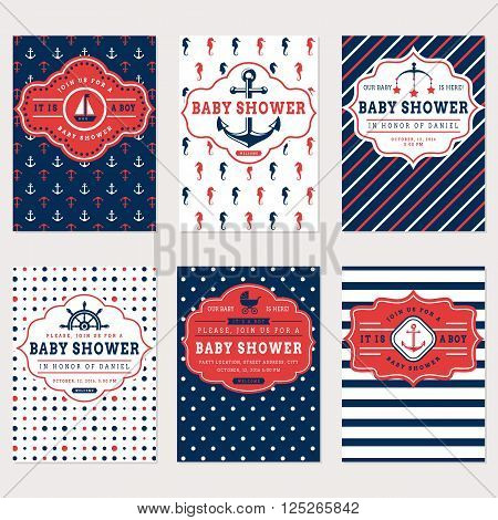 Nautical baby shower cards. Sea theme baby party invitations. Collection of cute banners in white red and blue colors. Vector set.