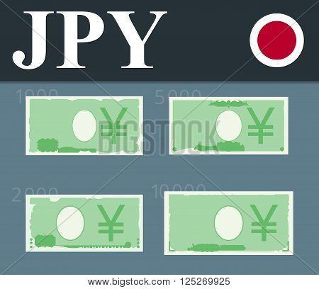 Abstract 10000 yen, 5000 yen, 2000 yen, 1000 yen banknotes.