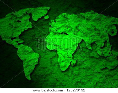 green grunge earth map on a green background 1