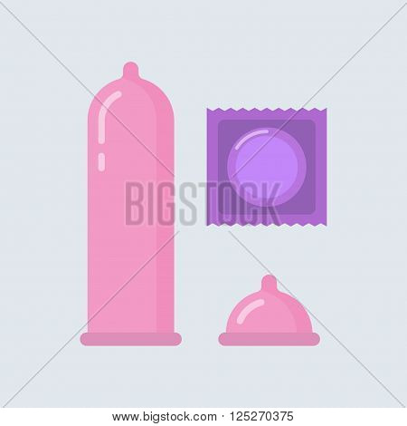 Condom vector illustration. Contraceptive method. Condom wrapper pack in flat style. Safe sex. Caution against pregnancy. Condom icon. Protection from sexually transmitted diseases. Condom isolated.