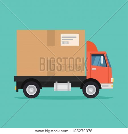 Delivery truck vector illustration. Delivery service concept. Delivery truck in flat style. Postal service icon. Delivery box truck. Fast delivery of goods. Delivery van design.