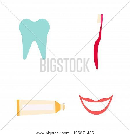 Dentist instruments set in flay style. illustration