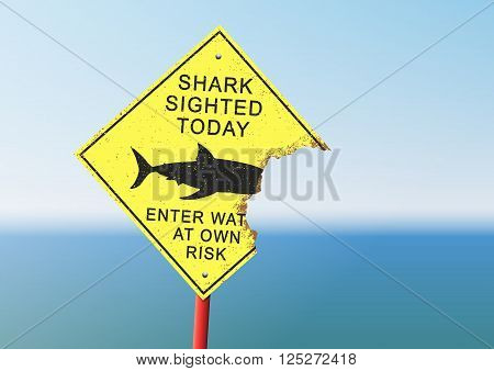 Vector illustration of an security panel attacked by a shark