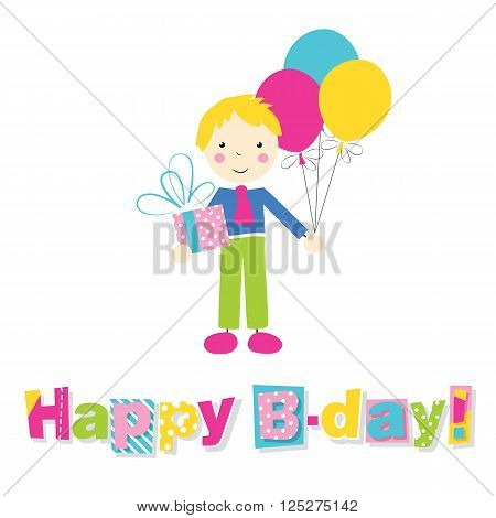 little blonde boy in blue and green outfit holding a present and balloons with letters happy birthday on white background