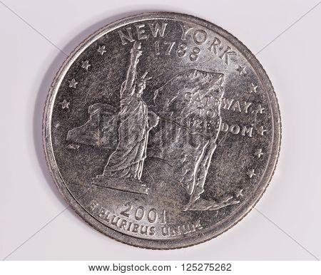 New York Quarter Dollar Close up on white background