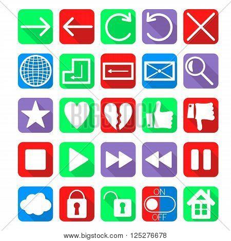 social network web navigation icons vector set