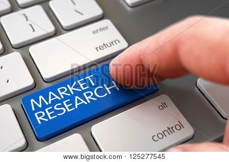 Business Concept - Male Finger Pointing Market Research Key on Laptop Keyboard. Hand of Young Man on Blue Market Research Keypad. Market Research Concept - Metallic Keyboard with Keypad. 3D Render.