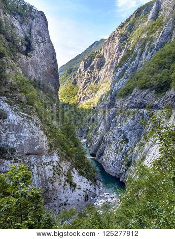 River Tara with it's beautiful green water running trough canyon of the world deepest one and UNESCO World Heritage, Montenegro.