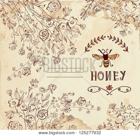 Honey label or background for organic products - vector illustration