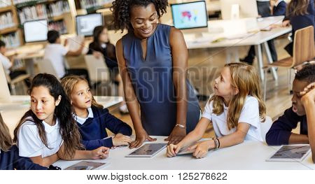 Education School Teacher Student Digital Tablet Technology Concept