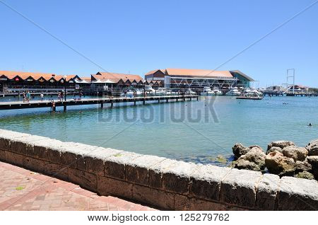 HILLARYS,WA,AUSTRALIA-JANUARY 22,2016: Hillarys Boat Harbour tourist attraction with shops, restaurants, swimming cove and marina in Hillarys, Western Australia.
