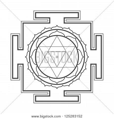 vector black outline hinduism Baglamukhi maha yantra illustration cosmology sacred diagram isolated on white background