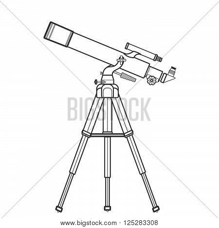 Vector Outline Refracting Telescope Illustration.
