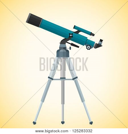 Vector Flat Refracting Telescope Illustration.