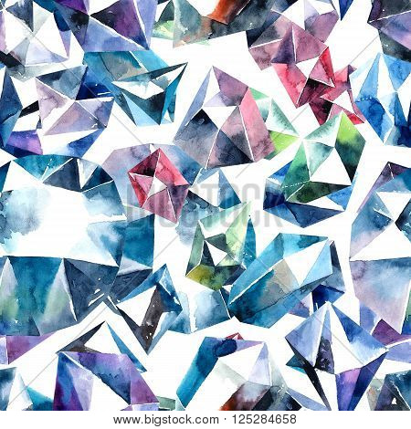Watercolor abstract illustration of diamond crystals. Bitmap seamless pattern