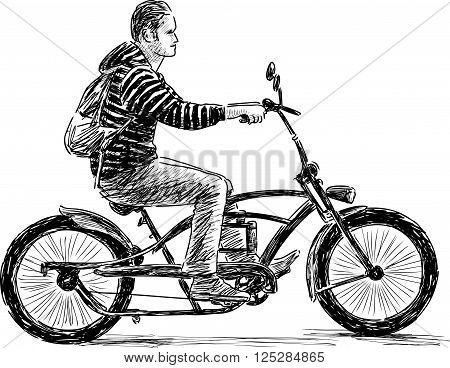 Vector drawing of an young man rides on a bicycle.