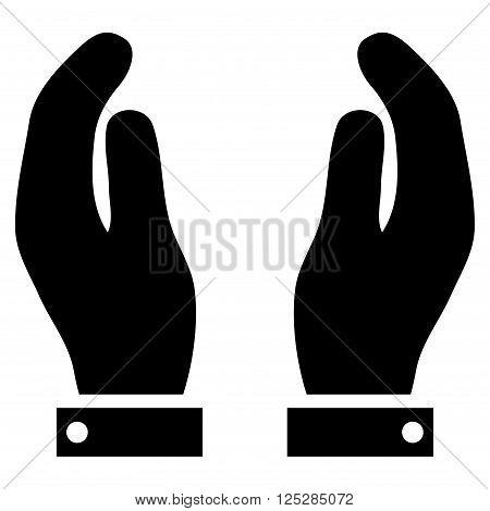 Care Hands vector icon. Care Hands icon symbol. Care Hands icon image. Care Hands icon picture. Care Hands pictogram. Flat black care hands icon. Isolated care hands icon graphic.