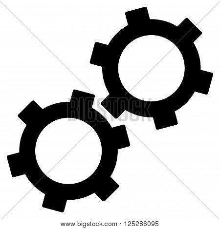 Gears vector icon. Gears icon symbol. Gears icon image. Gears icon picture. Gears pictogram. Flat black gears icon. Isolated gears icon graphic. Gears icon illustration.