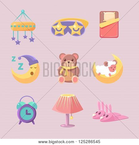 Baby Room Decoration Set Of Flat Vector Cartoon Style Isolated Cute Girly  Drawings On Pink Background