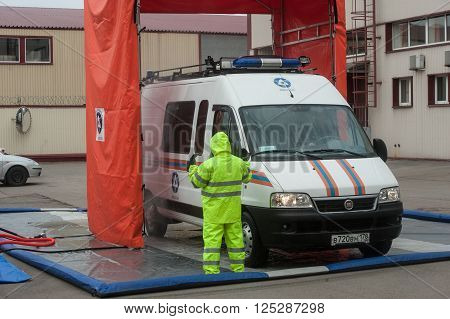 Saint-Petersburg Russia - April 6 2016: Item sanitization personnel and radiation decontamination equipment attracted to liquidate radiation accidents