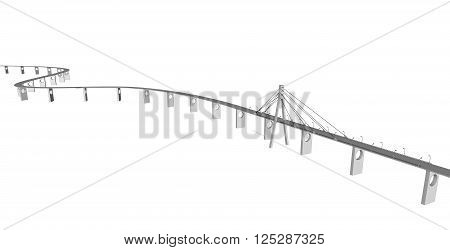 3D bridge and train, City buildings view vector illustration, buildings, , bridges on white  background. 3D arcitecture