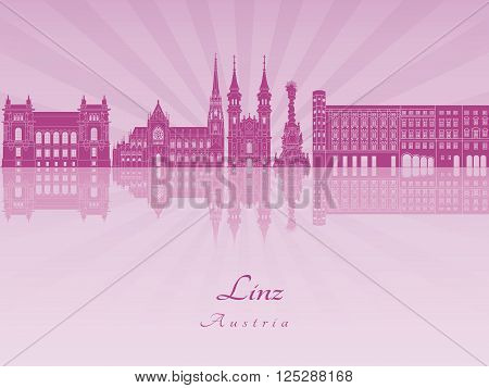 Linz skyline in purple radiant orchid in editable vector file