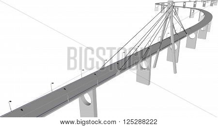 3D bridge and train, City buildings view vector illustration, buildings, , bridges on white  background. 3D arcitecture 5