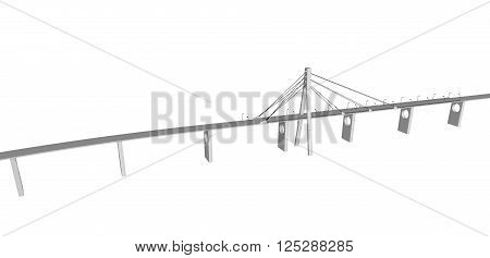 3D bridge and train, City buildings view vector illustration, buildings, , bridges, on white  background. 3D arcitecture 6