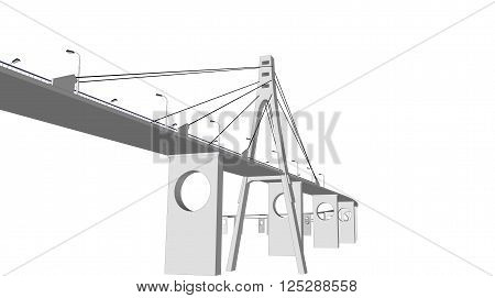 3D bridge and train, City buildings view vector illustration, buildings, , bridges on white  background. 3D arcitecture 9