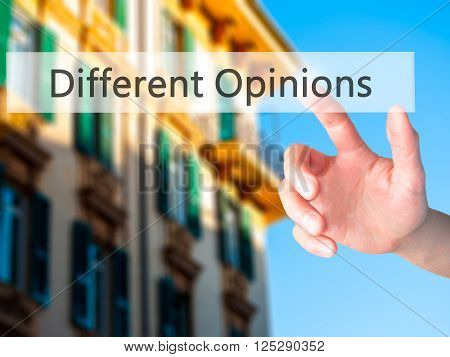 Different Opinions - Hand Pressing A Button On Blurred Background Concept On Visual Screen.