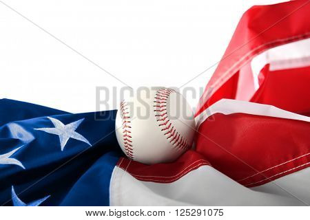 Baseball with American flag, isolated on white. Popular sport concept