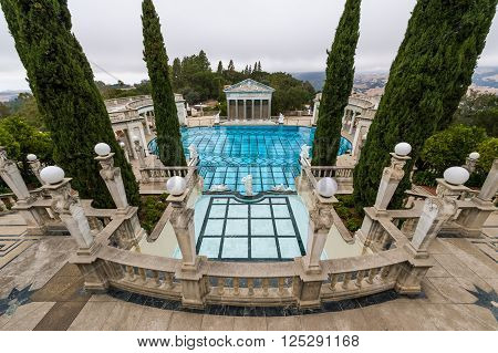 California USA 09 Jun 2013: Grand luxurious swimming pool in Hearst Castle.