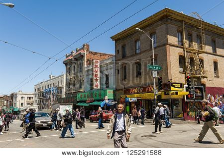 Busy Chinatown Street In San Francisco