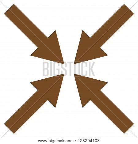 Center Arrows vector icon. Center Arrows icon symbol. Center Arrows icon image. Center Arrows icon picture. Center Arrows pictogram. Flat brown center arrows icon. Isolated center arrows icon graphic.