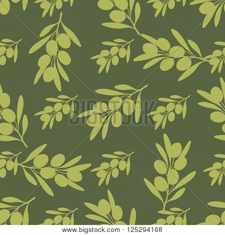 Seamless background with the image of the olive tree branch with olives