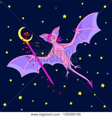 The pink bat flies in the night sky with a scepter