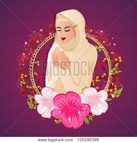 Religious Muslim Woman reading Namaz (Islamic Prayer) in beautiful flowers decorated frame for Holy Month of Prayers, Ramadan Kareem celebration.