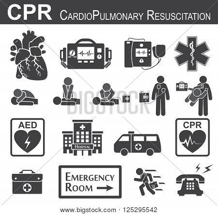 CPR ( Cardiopulmonary resuscitation ) icon ( black & white , flat design ) Basic life support ( BLS ) and Advanced cardiac life support ( ACLS )( mouth to mouth , chest compression , defibrillation ) poster
