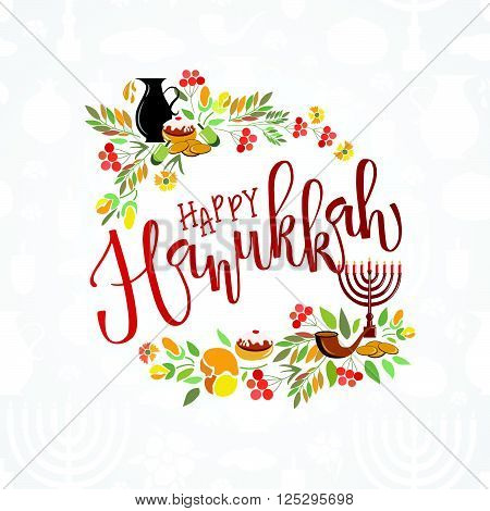 Happy Hanukkah lettering typography. Happy Hanukkah poster with flowers candles coins donut and herbs. Hanukkah template for postcard invitation card or banner fyer. Happy Hanukkah calligraphy. Vector collection of elements for Hanukkah