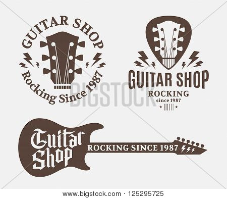 Set of vector guitar shop logo. Music icons for audio store branding poster or t-shirt print