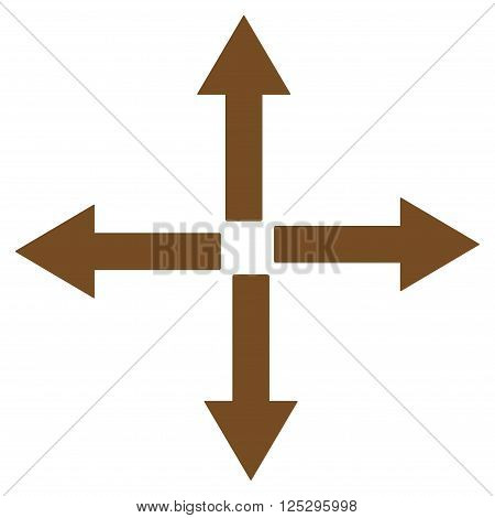 Expand Arrows vector icon. Expand Arrows icon symbol. Expand Arrows icon image. Expand Arrows icon picture. Expand Arrows pictogram. Flat brown expand arrows icon. Isolated expand arrows icon graphic.