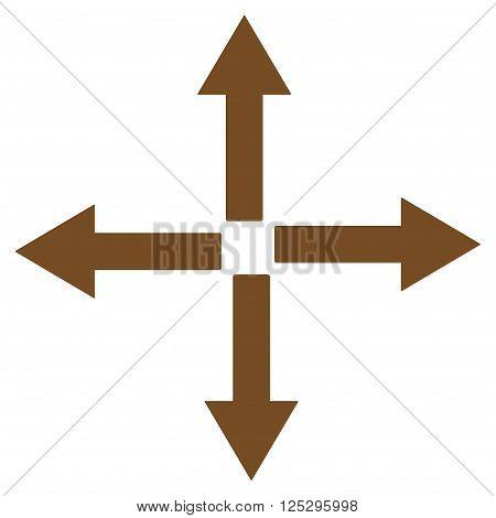 Expand Arrows vector icon. Expand Arrows icon symbol. Expand Arrows icon image. Expand Arrows icon picture. Expand Arrows pictogram. Flat brown expand arrows icon. Isolated expand arrows icon graphic.