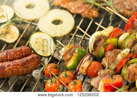Various Food On The Grill