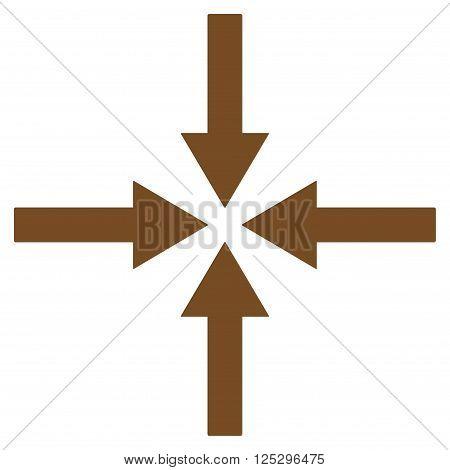 Impact Arrows vector icon. Impact Arrows icon symbol. Impact Arrows icon image. Impact Arrows icon picture. Impact Arrows pictogram. Flat brown impact arrows icon. Isolated impact arrows icon graphic.